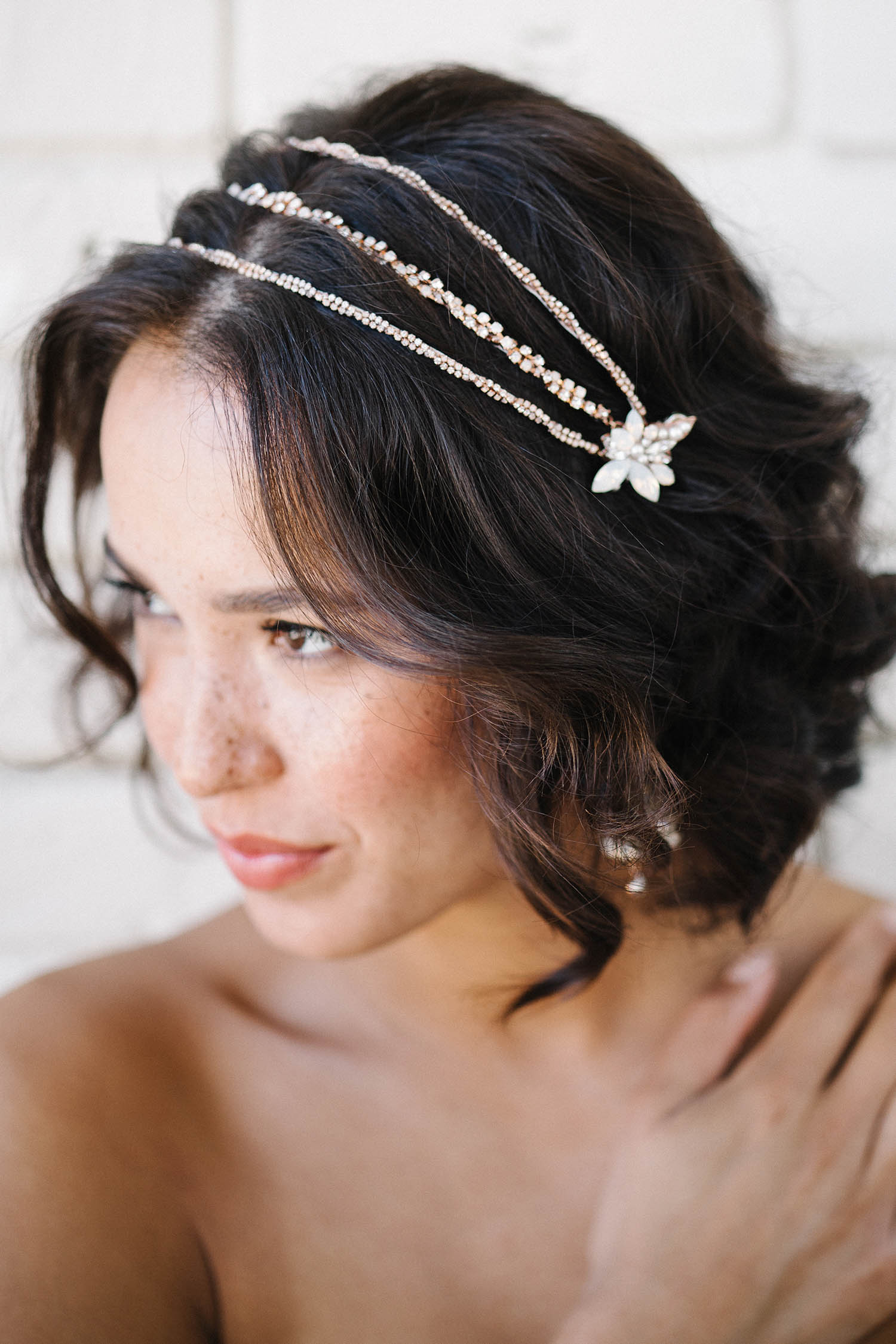 Rose gold and crystal bridal headpiece | Sara Gabriel