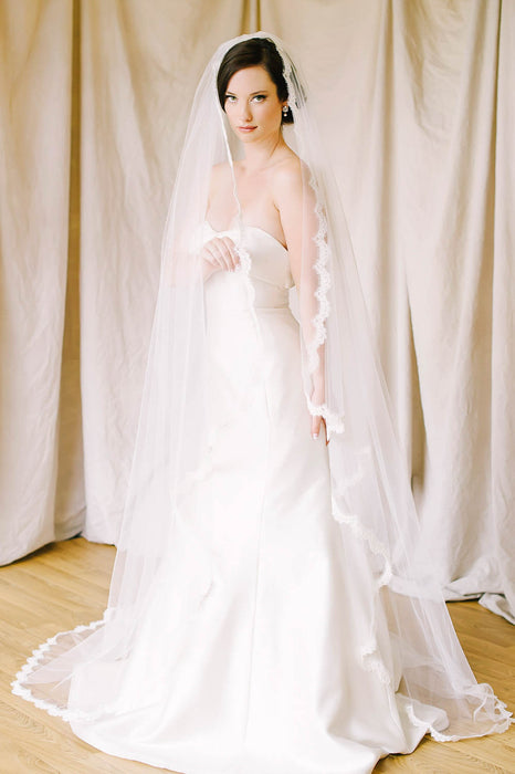 Curved edge French lace chapel length veil | Sara Gabriel