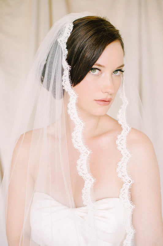 Curved edge French lace bridal veil | Sara Gabriel