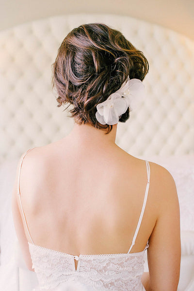 Silk flower bridal headpiece | Sara Gabriel