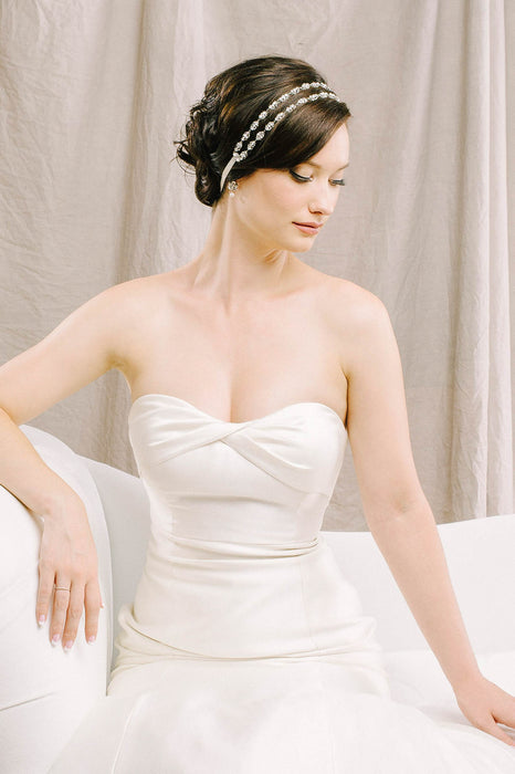Crystal and pearl headpiece with filigree detailing | Sara Gabriel