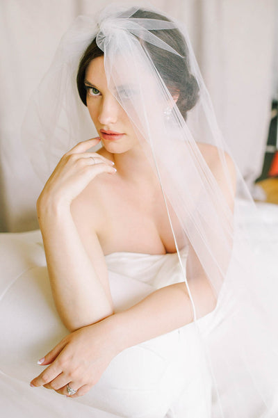 French lace crystal and pearl bridal veil | Sara Gabriel