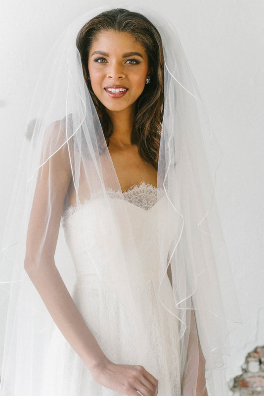 Classic two layer silk ribbon bridal veil | Sara Gabriel