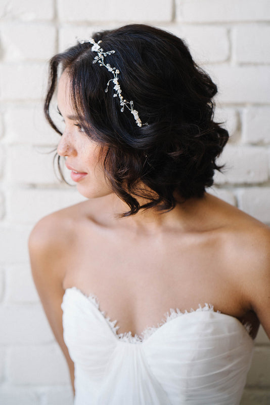 Crystal and pearl leaf headpiece | Sara Gabriel