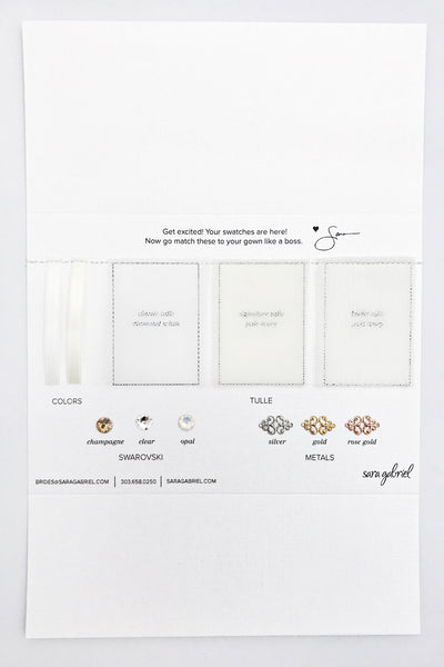 Tulle and crystal swatch card | Sara Gabriel