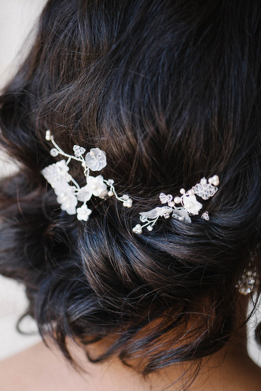 Delicate floral crystal and pearl bridal comb set | Sara Gabriel
