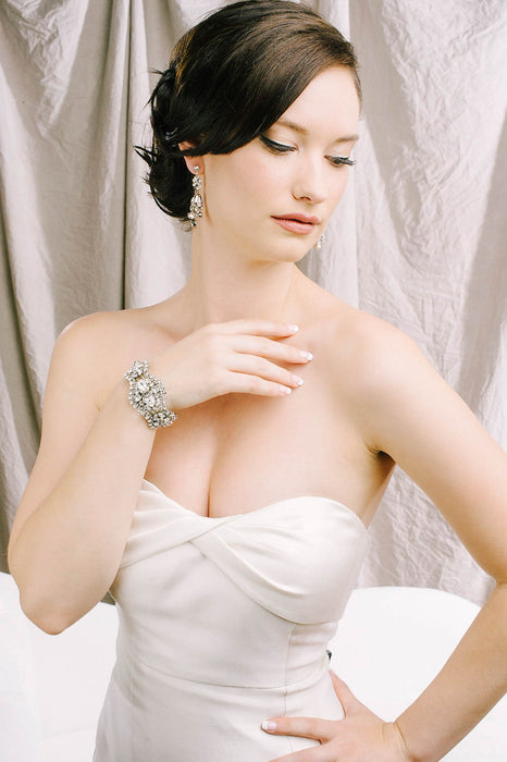 Statement cuff crystal bracelet | Sara Gabriel bridal accessories