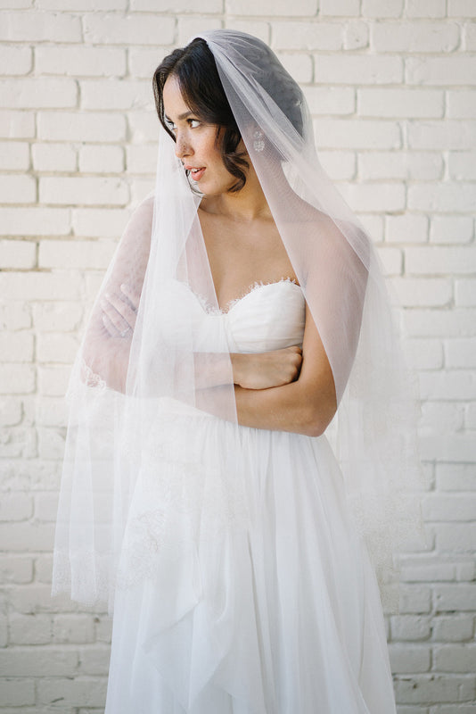 French lace fingertip bridal veil with gold thread detailing | Sara Gabriel