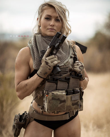 Kylee Nicole (@_kyleekyls), a crossfit girl and a girl who shoots, on the range for Robcano Photo with gear displaying lots of blaster bits.