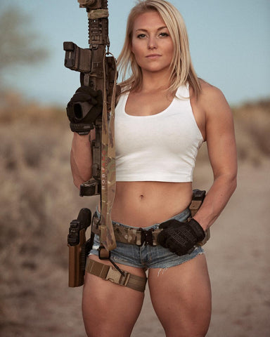 Kylee Nicole (@_kyleekyls) on the range for Robcano Photo with gear displaying lots of blaster bits.
