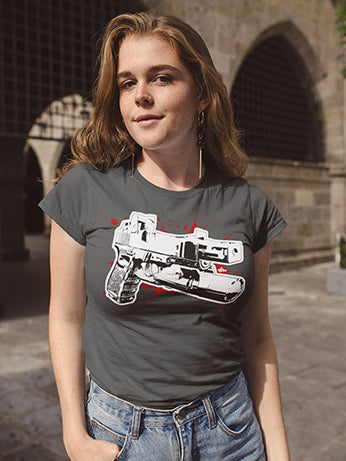 "The ""Roland Special"" gunslinger's pistol, built on a Glock frame to do ballistic social work - here seen on a tactical t-shirt!"