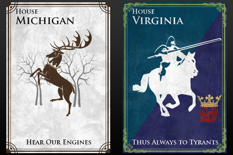 State flags as Game of Thrones house sigils.