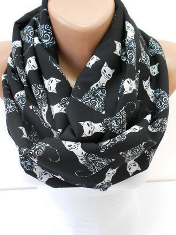 Cat Scarf Infinity Black Scarf Halloween Kitty Scarf  SCARFCLUB