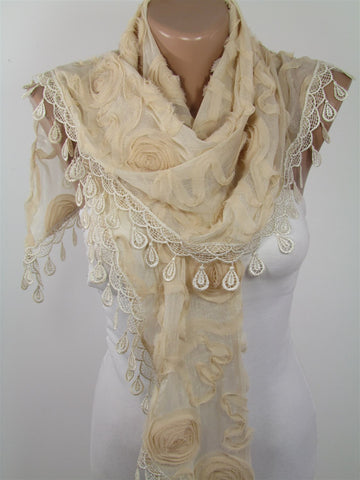 Beige Lace Scarf Shawl Wedding Scarf Bridesmaids Gift  SCARFCLUB