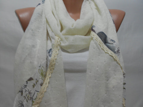 Cream Floral Scarf Shawl Mothers Day Gift for Her  SCARFCLUB