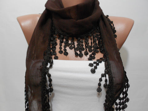 Lace Edge Soft Cotton Scarf Chocolate Brown Women Scarf  SCARFCLUB