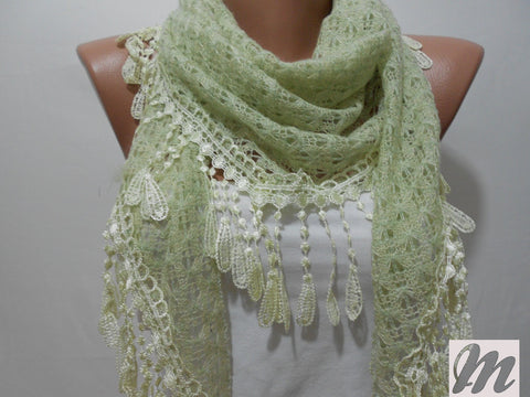Fabric Knitted Lace Scarf Shawl Light Green Triangle Scarf  SCARFCLUB