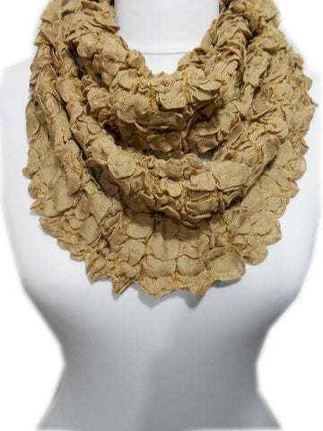 Beige Infinity Scarf Crinkle Loop Scarf Women Circle Scarf Neck warmer Women Fashion Accessories Christmas Gift Ideas For Her