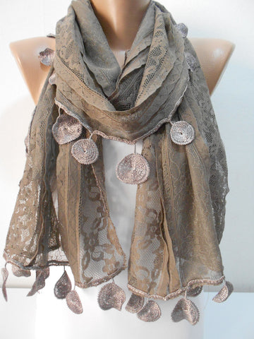 Mothers Day Gift Brown Lace Scarf Shawl  SCARFCLUB