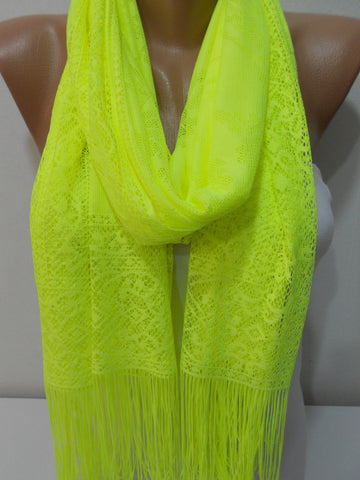 Neon Yellow Tulle Scarf Shawl Mothers Day Christmas Gift  SCARFCLUB