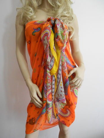 Beach Cover Up Pareo Scarf Orange Beach Wrap Sarong  SCARFCLUB