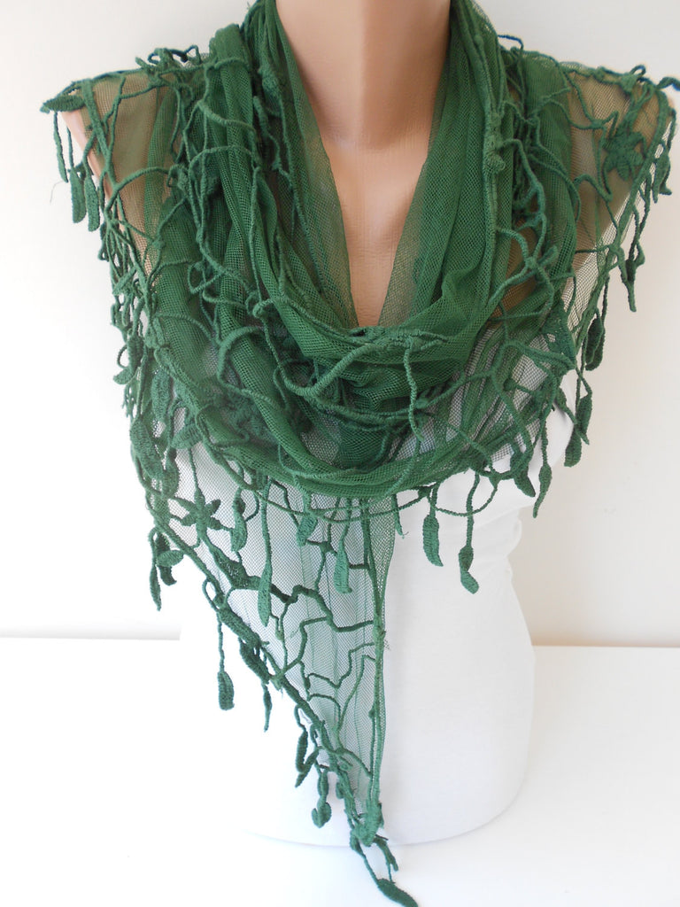 Green Tulle Scarf Wedding Shawl Scarf Wrap Christmas Gifts SCARFCLUB