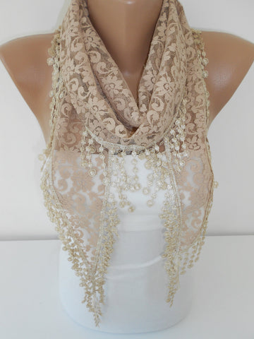 Beige Lace Scarf Wedding Scarf Shawl  SCARFCLUB