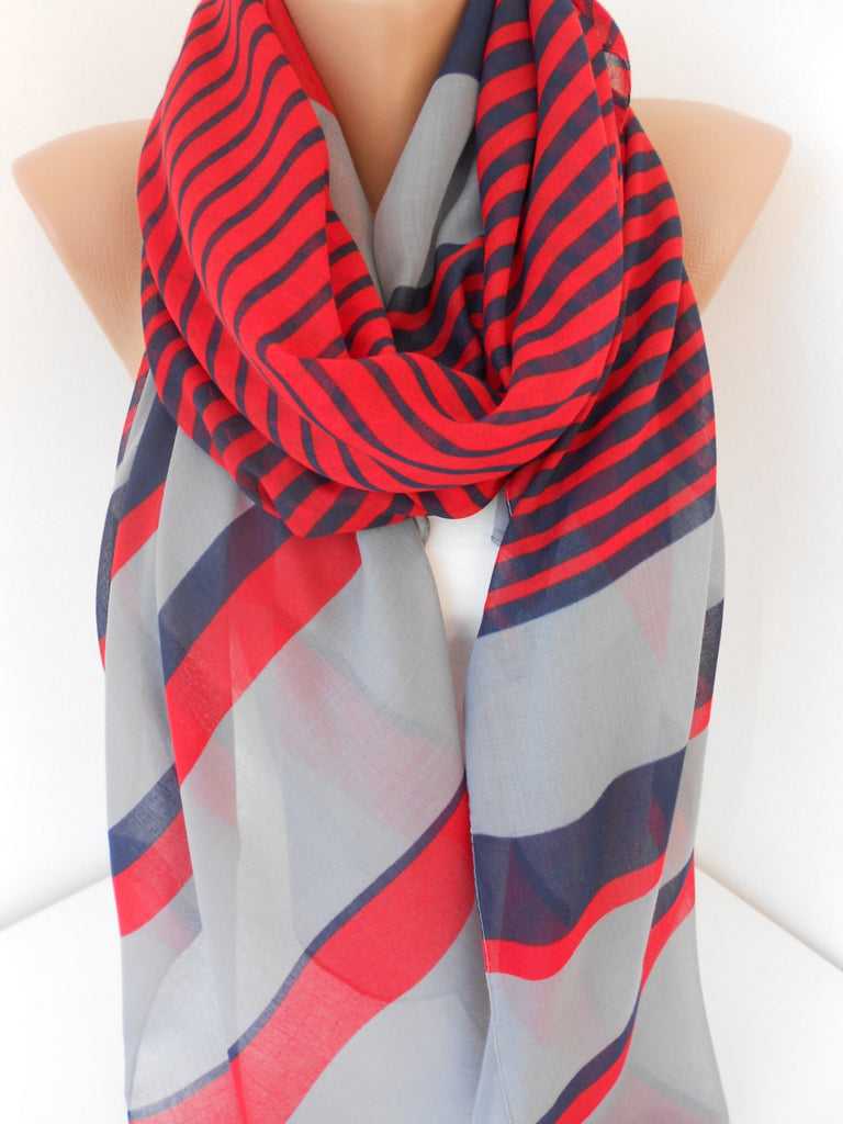 SOFT Cotton Scarf Shawl Striped Scarf Red Gray Navy Blue Scarf Women's Fashion Accessories Spring Summer Fall Winter Fashion