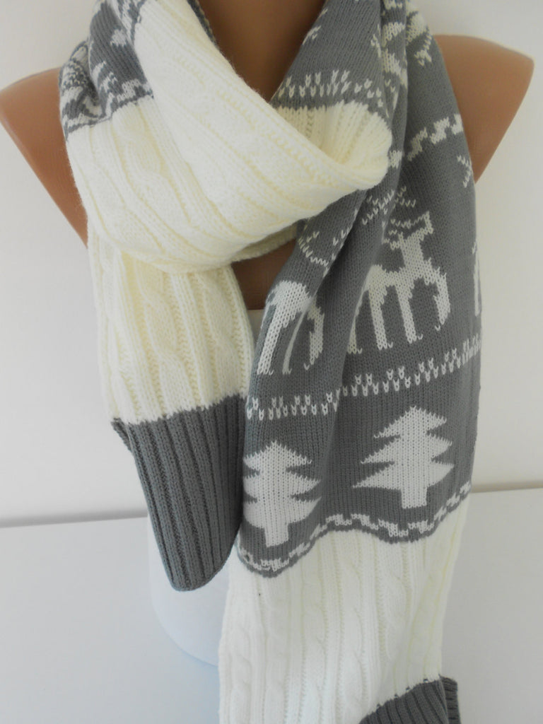 Nordic Winter Cowl Deer Scarf Cozy Knitted Scarf | SCARFCLUB