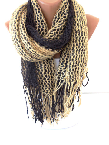 Beige Brown Knit Scarf Ascot Neck Warmer Winter Scarf  SCARFCLUB