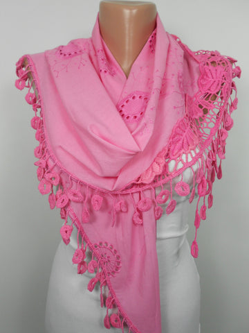 Pink Lace Scarf Christmas Valentines Day Mothers Day Gift  SCARFCLUB