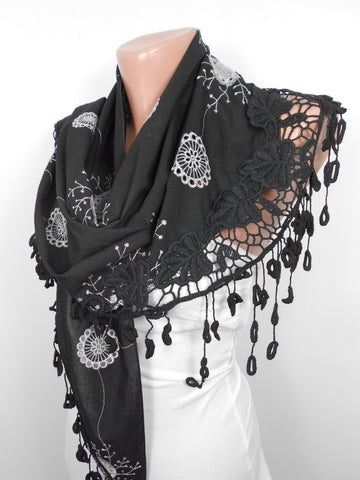 Black Scarf Shawl Cowl Lace Scarf Mothers Day Gift  SCARFCLUB
