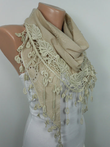 SPRING Summer Beige Scarf Lace Edge Cotton Cowl Scarf  SCARFCLUB