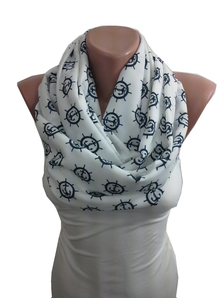 Anchor Scarf Rudder Infinity Scarf Sailor Nautical Scarf  SCARFCLUB