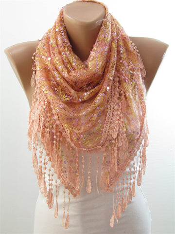 Golden Shimmer Lace Scarf Triangle Peach Sequin Scarf Shawl  SCARFCLUB