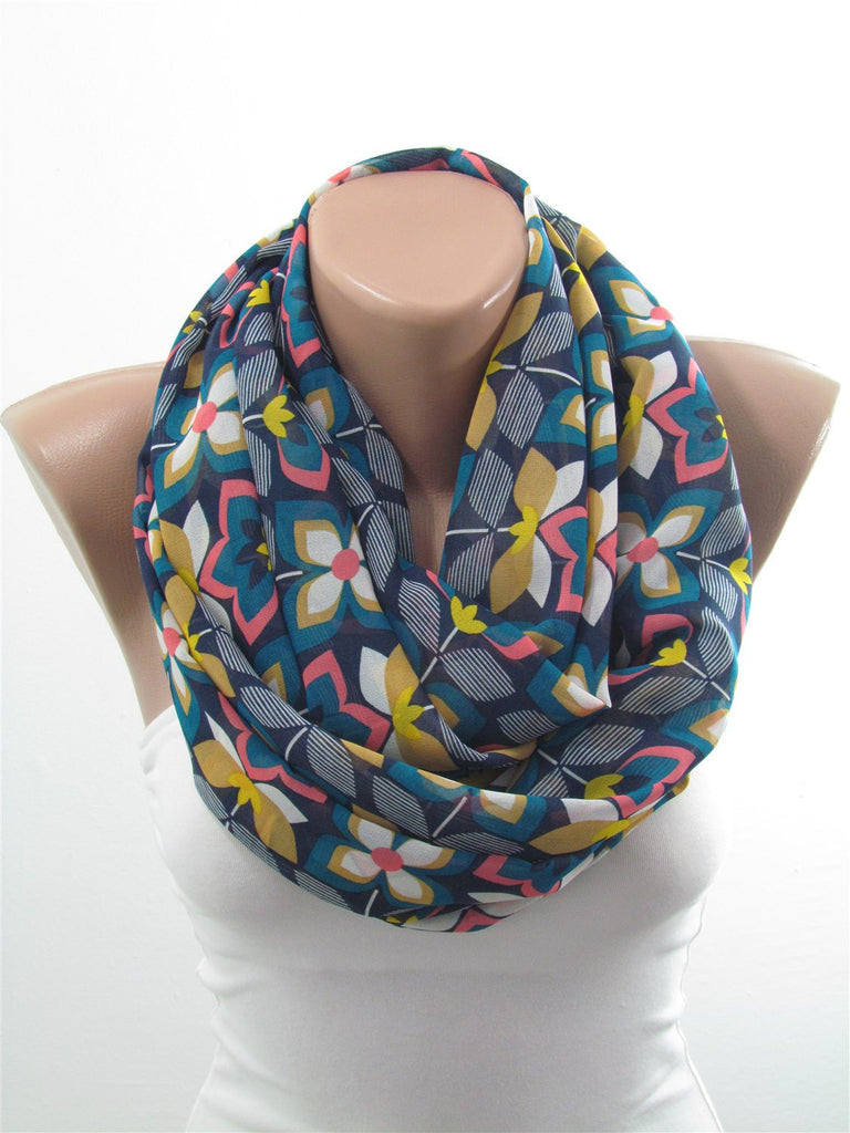 Floral Infinity Scarf Women Accessory Christmas Gift For Her SCARFCLUB