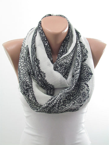 Lace Print Black and White Scarf Spring Infinity Scarf  SCARFCLUB