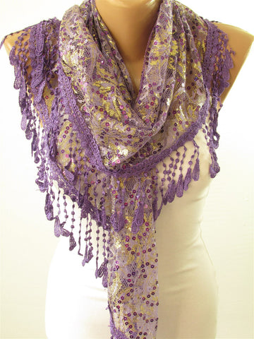 Lace Sequin Sparkle Scarf Golden Shimmer Wedding Scarf  SCARFCLUB