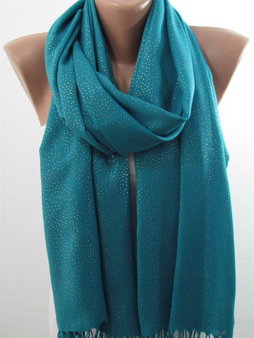 Blue Soft Pashmina Scarf with Gold Sparkles Christmas Gift  SCARFCLUB