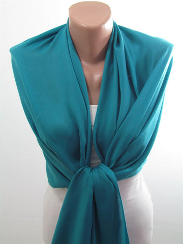 Blue Pashmina Scarf Shawl Fall Winter Fashion Cowl Wrap  SCARFCLUB
