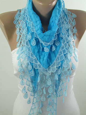 Turquoise Scarf Cowl Scarf with Lace Bridesmaids Gifts  SCARFCLUB