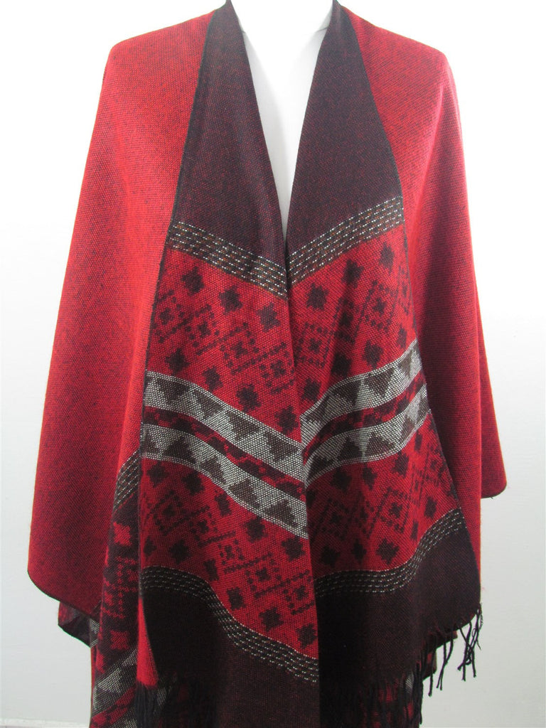 Poncho Scarf Tribal Red Aztec Shawl Winter Cover Up Wrap | SCARFCLUB