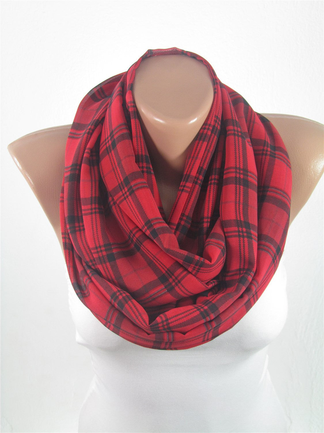 Red Plaid Infinity Scarf Flannel Tartan Scarf Christmas Gift ...