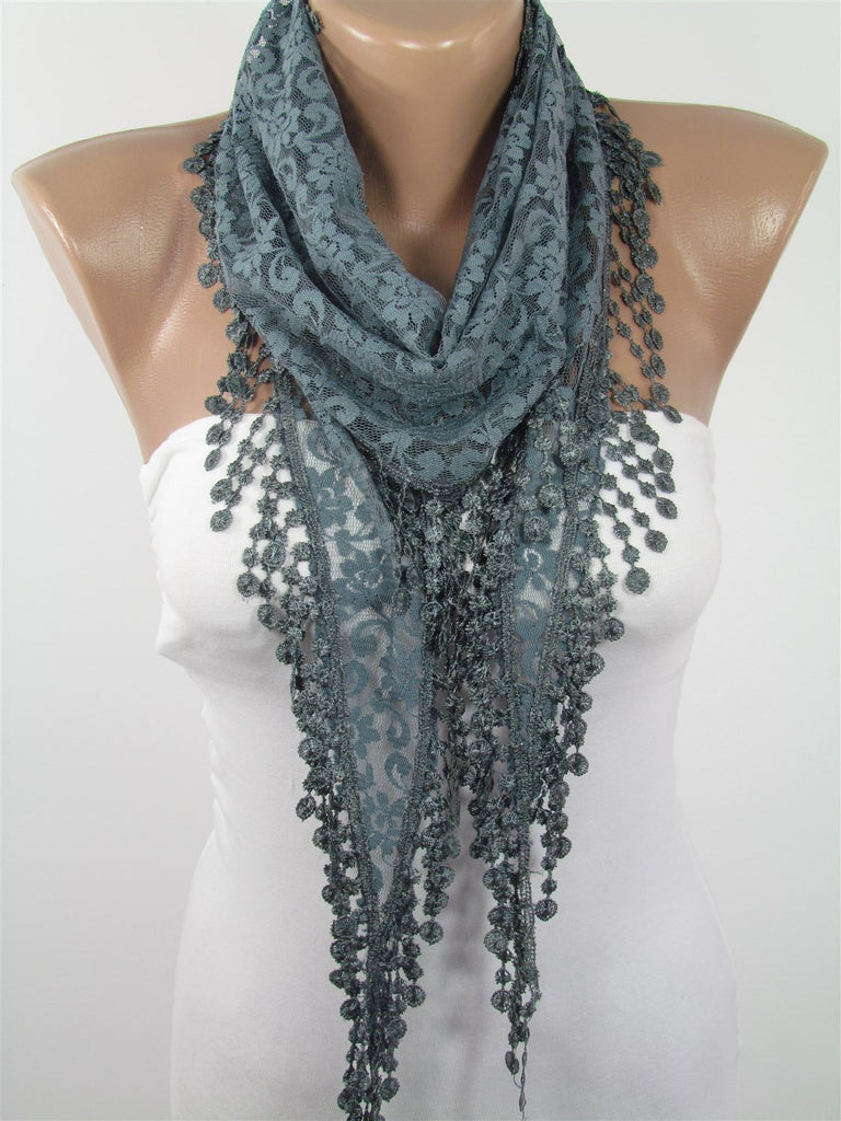 Gray Lace Scarf Lightweight Summer Scarf Wedding Scarf | SCARFCLUB