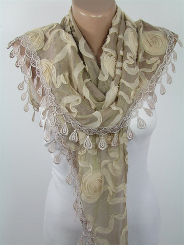 Beige Lace Scarf Shawl Wedding Scarf Wrap Bridesmaids Gift  SCARFCLUB
