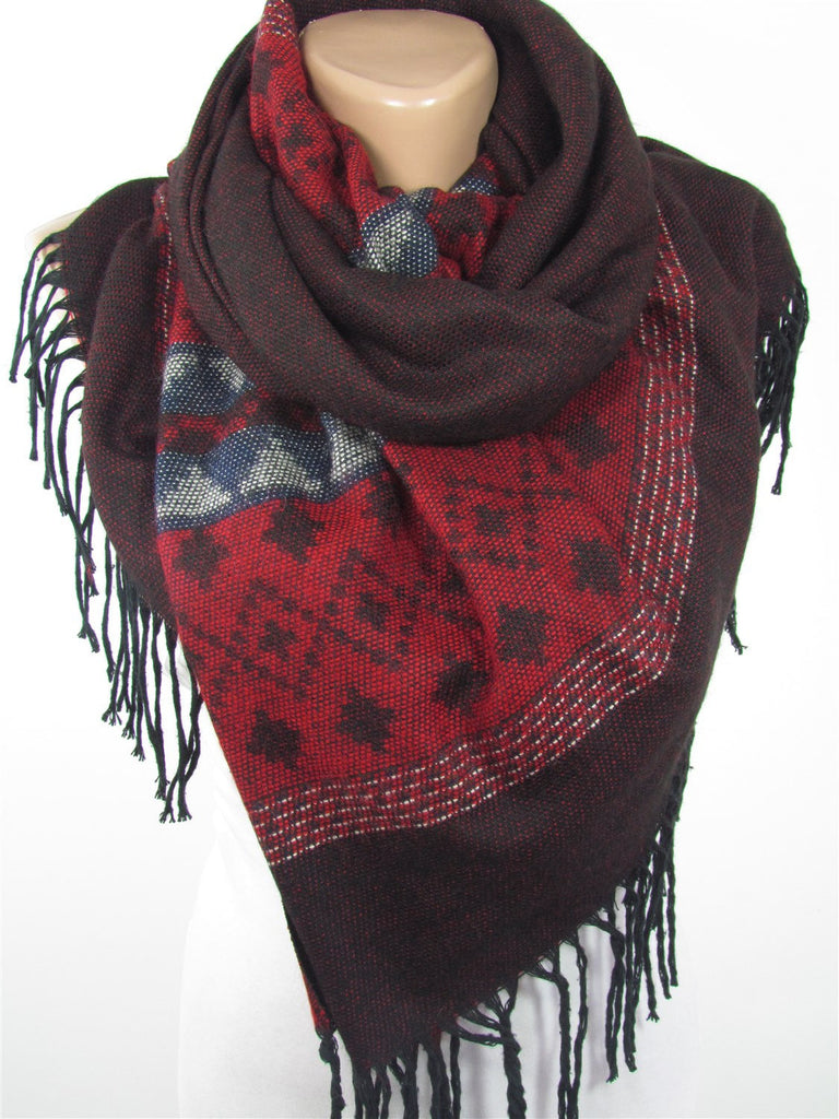 Blanket Scarf Oversize Tribal Scarf Cozy Winter Scarf Red Ethnic Scarf Bohemian Women Fashion Accessories Christmas Gifts For Her For Mom