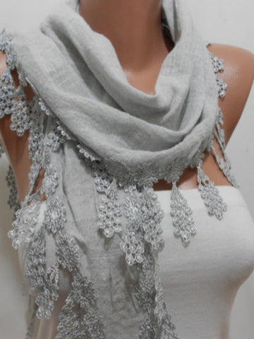 Gray Soft Linen Scarf Summer Scarf Shawl with Lace Edge  SCARFCLUB