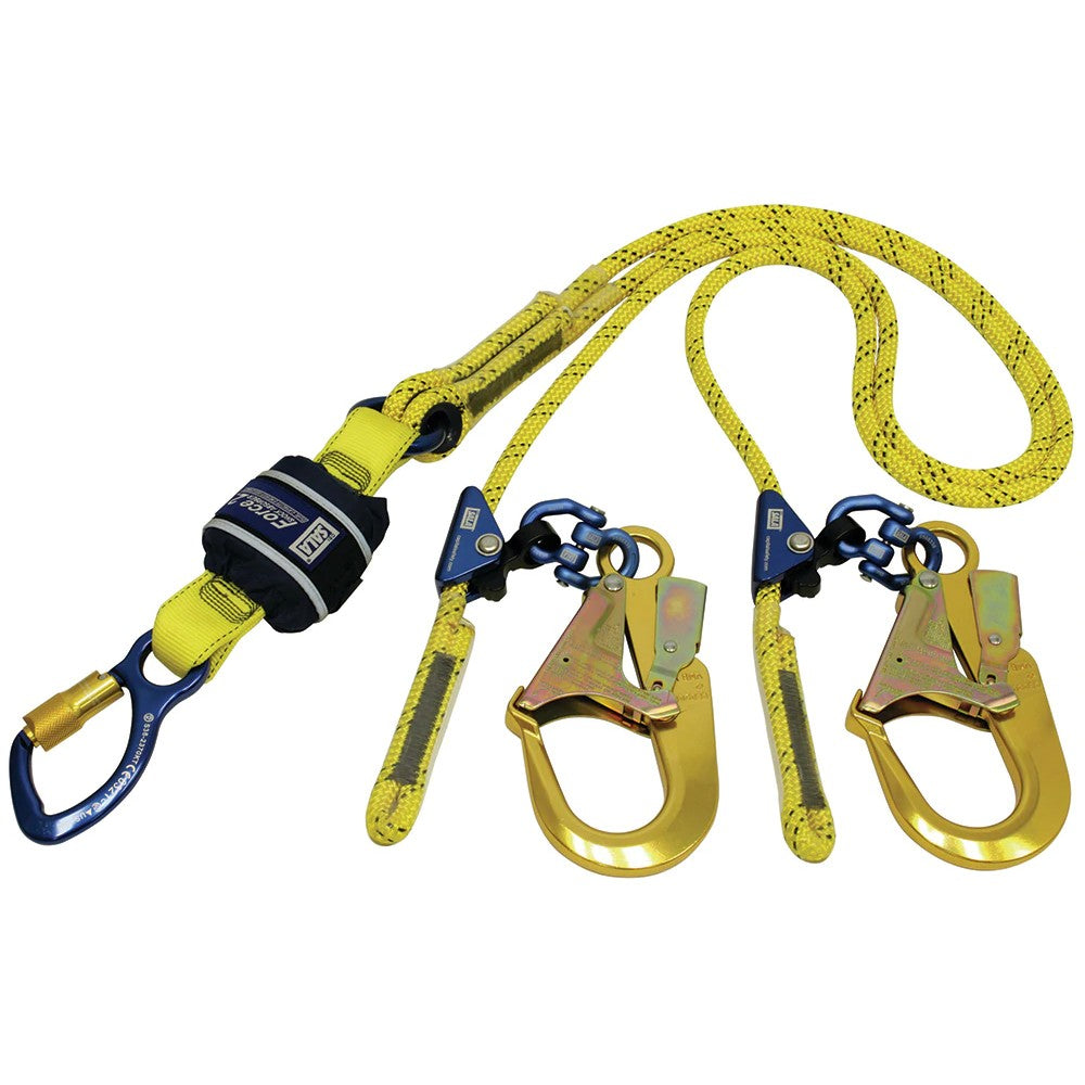 SALA Force 2 Twin Adjustable Rope Lanyard with Alloy Scaffold Hooks