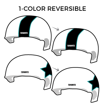 Quad City Misfits: Two Pairs of 1-Color Reversible Helmet Covers - Frogmouth