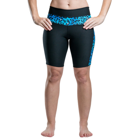 Black Cycle Shorts With Blue Cheetah Accent